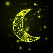 Shiny crescent moon  on green background - stock illustration