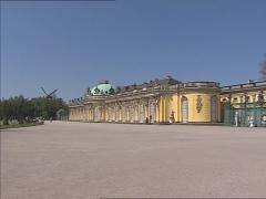 SANSSOUCI PALACE -  pan arbor, terrace and rococo facade summer residence Stock Footage