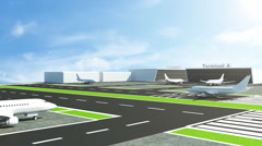 Animation of Airplane takes off from Airport - stock footage