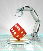 Stock Illustration of robotic hand automatic creation in  lucky way render illustration