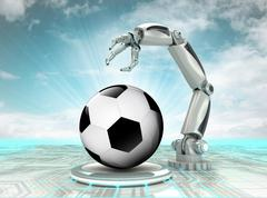 Robotic hand creation of cyber sport ball with cloudy sky illustration Stock Illustration