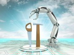 cybernetic robotic hand battle with old manual tools with cloudy sky - stock illustration