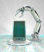 Stock Illustration of industrial cybernetic robotic hand creation of futuristic smart phone render