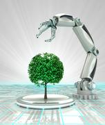 Stock Illustration of robotic hand creation of new kind of tree render illustration