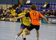Handball game Ukraine vs Netherlands Stock Photos