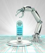robotic hand creation of new kind of telecommunications render illustration - stock illustration