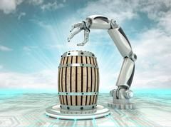 robotic hand creation of new kind of beverage with cloudy sky illustration - stock illustration