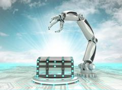 Robotic hand mystery chest inventios in industry with cloudy sky illustration Stock Illustration