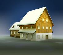 idyllic hut and window lighting at night illustration - stock illustration