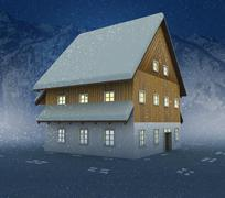 idyllic cottage window lighting at night snowfall illustration - stock illustration
