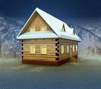 idyllic cottage and window lighting at night snowfall illustration - stock illustration