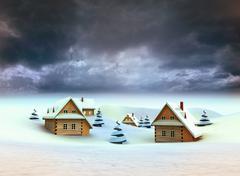 winter village dark sky evening illustration - stock illustration