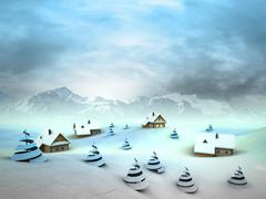 winter village perspective with high mountain landscape illustration - stock illustration