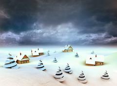 winter village perspective dark sky evening illustration - stock illustration