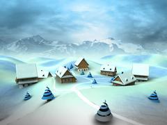 winter village scene with high mountain landscape illustration - stock illustration