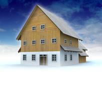 idyllic mountain cottage with blue sky illustration - stock illustration