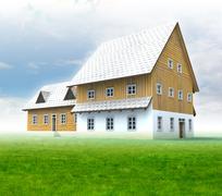 idyllic mountain hut with green grass and blue sky illustration - stock illustration
