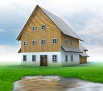 idyllic mountain cottage with green grass and pound illustration - stock illustration