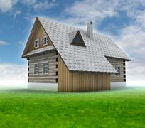 old mountain cabin with green grass and blue sky illustration - stock illustration