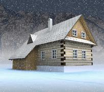 classical mountain cabin at night snowfall illustration - stock illustration