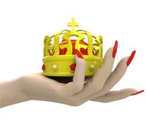 Isolated kings royal crown in women hand render illustration Stock Illustration
