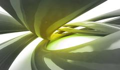 twisted liquid tube shapes in yellow abstract space wallpaper background - stock illustration