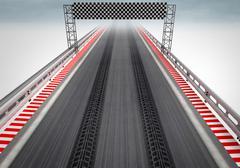 tire drift on race circuit finish line illustration - stock illustration