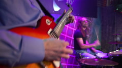 Band performs on stage Stock Footage