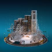 Night winter cityscape Stock Illustration