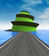 Road leading to the top of green island illustration Stock Illustration