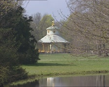 Chinese House or Tea House in the Rehgarten of Sanssouci Park Stock Footage