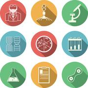 Colored vector icons for bacteriology - stock illustration