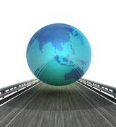 Stock Illustration of isolated highway with asia on globe illustration