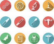 Colored vector icons for genetics - stock illustration