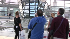 View of mirrored fan vaulting inside Reichstag dome Stock Footage
