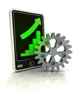 increasing graph stats of machinery industry on smart phone display - stock illustration