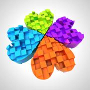 Colored cloverleaf in three dimensional composition illustration Stock Illustration