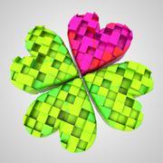 red heart in dimensional cloverleaf composition illustration - stock illustration