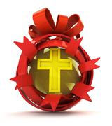 Opened red ribbon gift sphere with golden cross inside illustration Stock Illustration