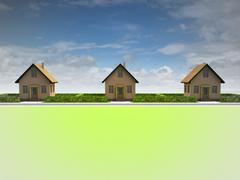 three houses in satisfied neighborhood illustration - stock illustration