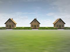 Three houses in happy neighborhood illustration Stock Illustration