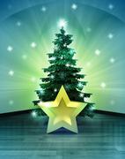 Heavenly space with winter star under glittering xmas tree illustration Stock Illustration