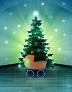 heavenly space with baby carriage under glittering xmas tree illustration - stock illustration