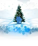 winter landscape card with xmas tree and house icon illustration - stock illustration