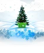 Stock Illustration of winter landscape card with xmas tree and customer basket illustration