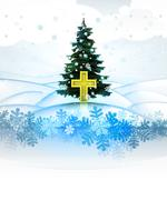 Winter landscape card with xmas tree and golden cross illustration Stock Illustration