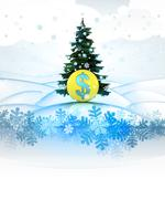 Winter landscape card with xmas tree and dollar coin illustration Stock Illustration