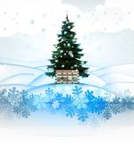 winter landscape card with xmas tree and magic chest illustration - stock illustration