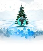 Stock Illustration of winter landscape card with xmas tree and african globe illustration
