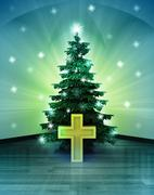 Heavenly space with golden cross under glittering xmas tree illustration Stock Illustration